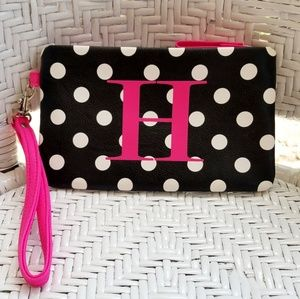 Handbags - Monogram Makeup Bag Polka Dot H Hot Pink Black